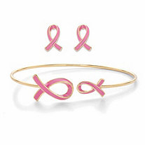 SETA JEWELRY Pink Enamel Breast Cancer Awareness Stud Earrings and Bangle Bracelet Set in Goldtone 7.5