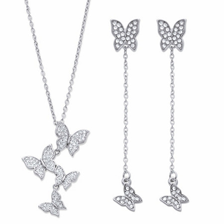 """2-Looks-in-1 Round Crystal 2-Piece Butterfly Necklace and Earring Set in Sterling Silver 18"""" at PalmBeach Jewelry"""