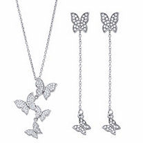 2-Looks-in-1 Round Crystal 2-Piece Butterfly Necklace and Earring Set in Sterling Silver 18
