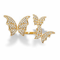 Round Crystal Adjustable Butterfly Ring in Goldtone