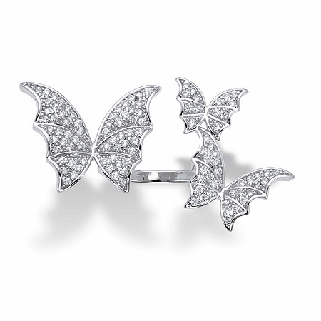 Round Crystal Adjustable Butterfly Ring in Silvertone at PalmBeach Jewelry