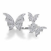 SETA JEWELRY Round Crystal Adjustable Butterfly Ring in Silvertone