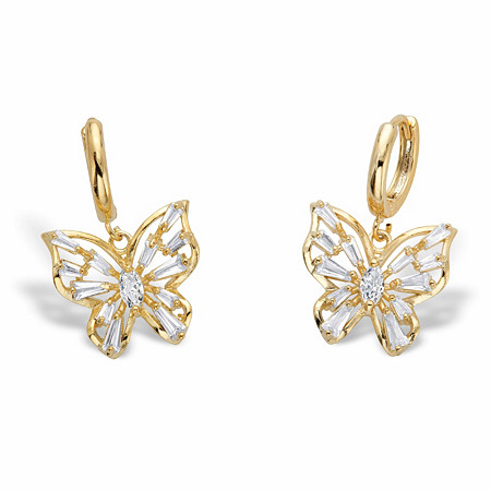 """Marquise-Cut and Baguette-Cut Crystal Butterfly Huggie-Hoop Charm Earrings in Goldtone 1"""" at PalmBeach Jewelry"""