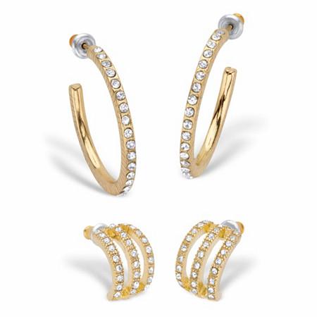 "Round Crystal 2-Pair Demi-Hoop Earring Set in Goldtone (1/2""-1 1/8"") at PalmBeach Jewelry"