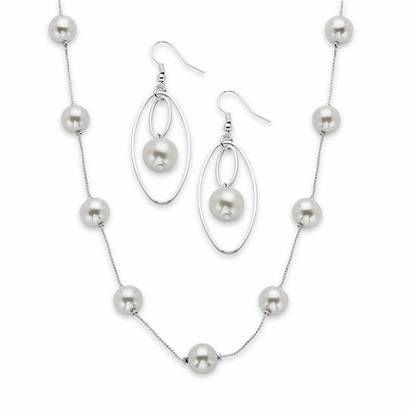 """Round White Simulated Pearl 2-Piece Beaded Station Necklace and Circle Drop Earring Set in Silvertone 18""""-21"""" at PalmBeach Jewelry"""