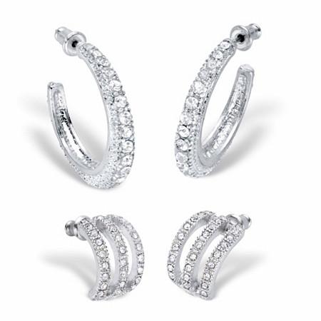 "Round Crystal Silvertone 2-Pair Hoop Earring Set (1/2"" - 1 1/8"") at PalmBeach Jewelry"
