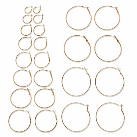 """Polished 12-Pair Hoop Earring Set in Goldtone (3/4"""" to 2 3/4"""") at PalmBeach Jewelry"""