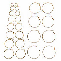 "Polished 12-Pair Hoop Earring Set in Goldtone (3/4"" to 2 3/4"")"