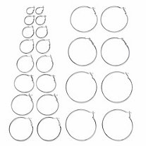 Polished Silvertone 12-Pair Hoop Earring Set (3/4