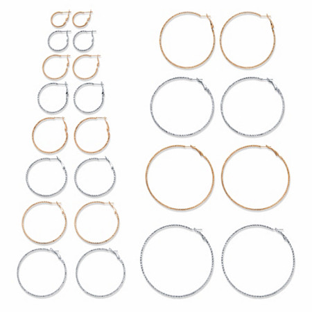 """Diamond-Cut Two-Tone 12-Pair Hoop Earring Set in Silvertone and Goldtone (3/4""""-2.75"""") at PalmBeach Jewelry"""