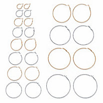 "Diamond-Cut Two-Tone 12-Pair Hoop Earring Set in Silvertone and Goldtone (3/4""-2.75"")"