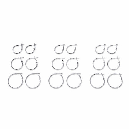 "Polished 9-Pair Hoop Earring Set in Silvertone (3/4"" - 1 3/16"") at PalmBeach Jewelry"