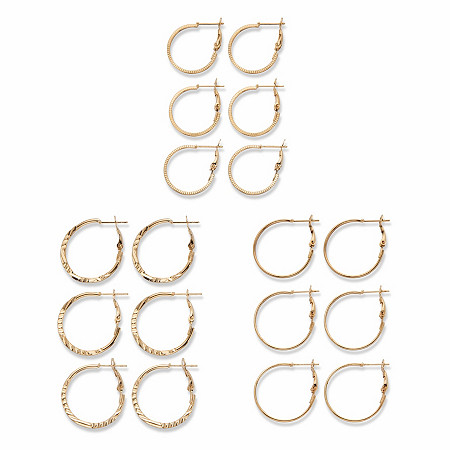 """Diamond-Cut and Polished 9-Pair Hoop Earring Set in Goldtone (3/4"""" - 1 3/16"""") at PalmBeach Jewelry"""