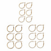 Diamond-Cut and Polished 9-Pair Hoop Earring Set in Goldtone (3/4
