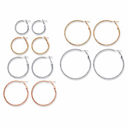 "Diamond-Cut Tri-Tone 6-Pair Hoop Earring Set in Silvertone Goldtone and Rosetone (1""-2"") at PalmBeach Jewelry"
