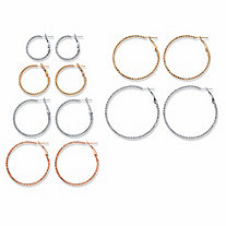 Diamond-Cut Tri-Tone 6-Pair Hoop Earring Set in Silvertone Goldtone and Rosetone (1