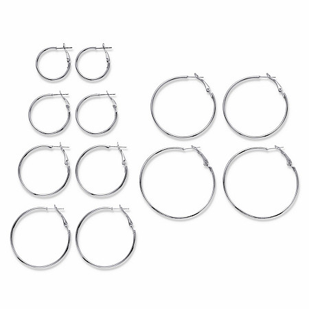 "Polished 6-Pair Hoop Earring Set in Silvertone (1"" - 2"") at PalmBeach Jewelry"