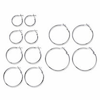 Polished 6-Pair Hoop Earring Set in Silvertone (1