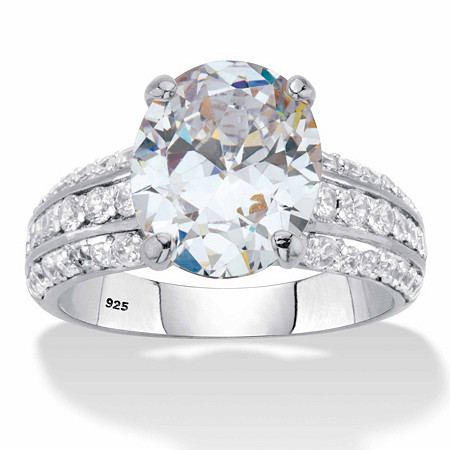 Oval-Cut Cubic Zirconia Multi-Row Engagement Ring 5.96 TCW in Platinum over Sterling Silver at PalmBeach Jewelry