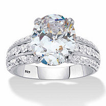 Oval-Cut Cubic Zirconia Multi-Row Engagement Ring 5.96 TCW in Platinum over Sterling Silver