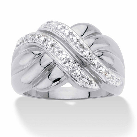 Round Diamond Accent Diagonal Grooved Crossover Ring in Silvertone at PalmBeach Jewelry