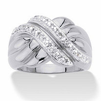 Round Diamond Accent Diagonal Grooved Crossover Ring in Silvertone