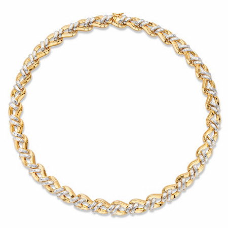 """Round Diamond Accent Two-Tone Braided Collar Necklace 14k Gold-Plated 18"""" at PalmBeach Jewelry"""