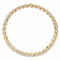Round Diamond Accent Two-Tone Braided Collar Necklace 14k Gold-Plated 18""
