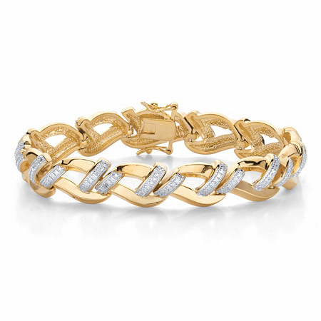 """Round Diamond Accent Two-Tone Braided Link Bracelet 14k Gold-Plated 7.25"""" at PalmBeach Jewelry"""