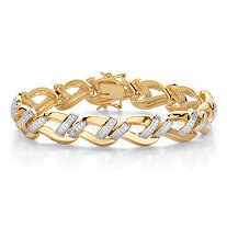 Round Diamond Accent Two-Tone Braided Link Bracelet 14k Gold-Plated 7.25""