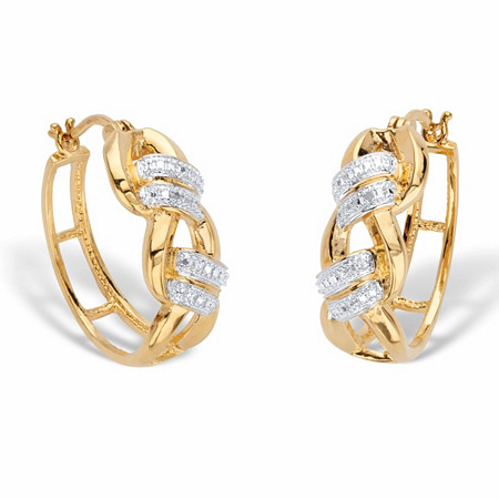 """Round Diamond Accent Two-Tone Oval Braided Link Hoop Earrings 14k Gold-Plated 1 1/0"""" at PalmBeach Jewelry"""
