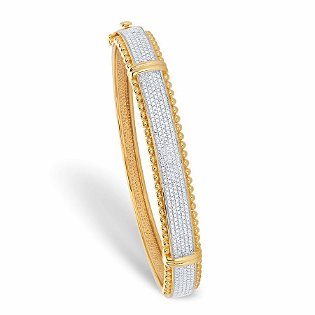 """Round Diamond Accent Two-Tone Bead Border Bangle Bracelet 14k Gold-Plated 7.25"""" at PalmBeach Jewelry"""