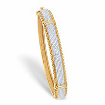 Round Diamond Accent Two-Tone Bead Border Bangle Bracelet 14k Gold-Plated 7.25