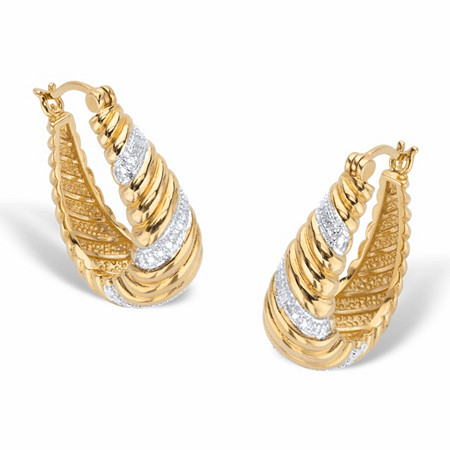 """Round Diamond Accent Two-Tone Banded Oval Hoop Earrings 14k Gold-Plated 1 1/8"""" at PalmBeach Jewelry"""
