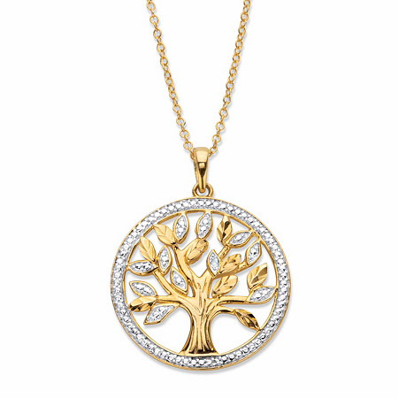 """Round Diamond Accent Two-Tone Tree of Life Pendant Necklace in 14k Gold over Sterling Silver 18"""" at Direct Charge presents PalmBeach"""