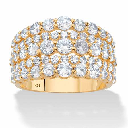 Round Graduated Cubic Zirconia Wide Anniversary Ring 2.82 TCW in 14k Gold over Sterling Silver at PalmBeach Jewelry