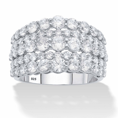 Round Graduated Cubic Zirconia Wide Anniversary Ring 2.82 TCW in Platinum over Sterling Silver at PalmBeach Jewelry
