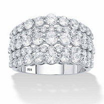 Round Graduated Cubic Zirconia Wide Anniversary Ring 2.82 TCW in Platinum over Sterling Silver