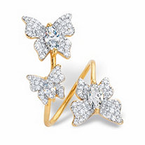 Marquise-Cut and Round Cubic Zirconia Butterfly Cocktail Wrap Ring 2.31 TCW 14k Gold-Plated