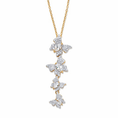 """Marquise-Cut and Round Cubic Zirconia Butterfly Pendant Necklace 2.74 TCW Gold-Plated 18""""-20"""" at PalmBeach Jewelry"""