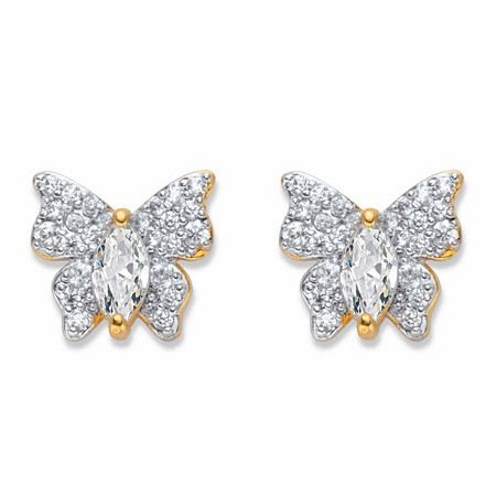 Marquise-Cut and Round Cubic Zirconia Butterfly Stud Earrings .87 TCW 14k Gold-Plated at PalmBeach Jewelry