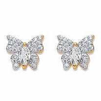 Marquise-Cut and Round Cubic Zirconia Butterfly Stud Earrings .87 TCW 14k Gold-Plated