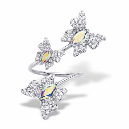Marquise-Cut and Round Aurora Borealis Cubic Zirconia Butterfly Cocktail Wrap Ring 2.31 TCW Platinum-Plated at PalmBeach Jewelry