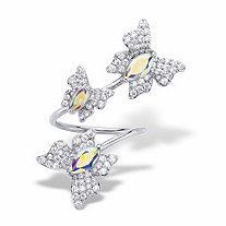 Marquise-Cut and Round Aurora Borealis Cubic Zirconia Butterfly Cocktail Wrap Ring 2.31 TCW Platinum-Plated