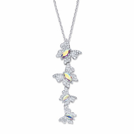 """Marquise-Cut and Round Aurora Borealis Cubic Zirconia Butterfly Y Pendant Necklace 2.74 TCW  Platinum-Plated 18""""-20"""" at PalmBeach Jewelry"""