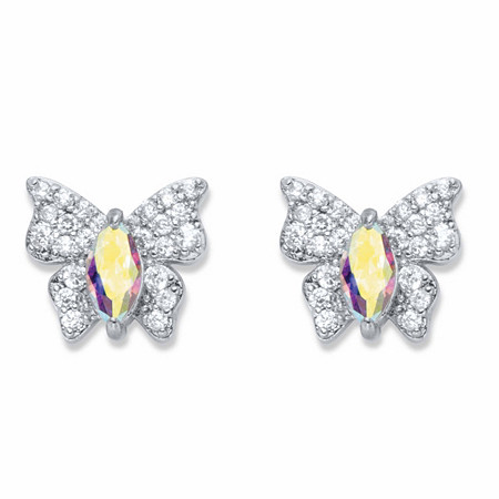 Marquise-Cut and Round Aurora Borealis Cubic Zirconia Butterfly Stud Earrings .87 TCW Platinum-Plated at PalmBeach Jewelry