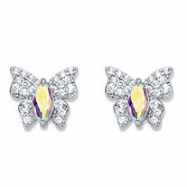 Marquise-Cut and Round Aurora Borealis Cubic Zirconia Butterfly Stud Earrings .87 TCW Platinum-Plated