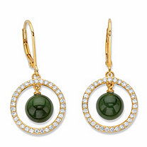 Genuine Green Jade Bead and Cubic Zirconia Halo Drop Earrings .56 TCW in 18k Gold over Sterling Silver