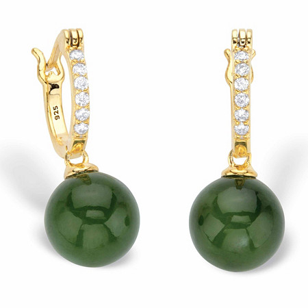 Genuine Green Jade and Cubic Zirconia Bead Drop Earrings .18 TCW in 18k Gold over Sterling Silver at PalmBeach Jewelry