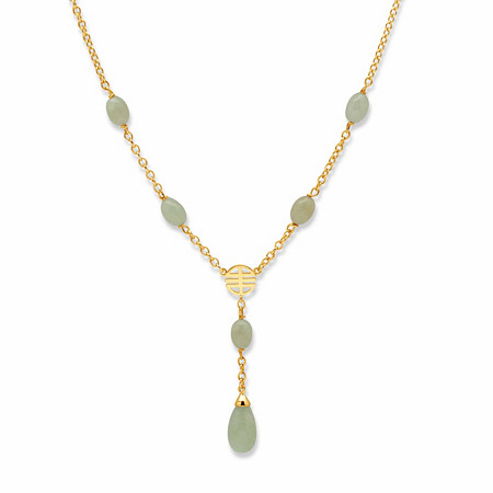 """Pear-Cut and Oval-Cut Genuine Green Jade Y Drop Station Necklace 14k Gold-Plated 17"""" at PalmBeach Jewelry"""